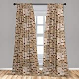 Ambesonne Coffee Curtains, Coffee Words Different Typographies Beans Cups on Abstract Vintage Backdrop, Window Treatments 2 Panel Set for Living Room Bedroom Decor, 56' x 63', Brown Black