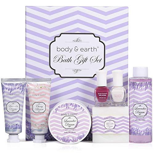 Regalo de Spa - Body & Earth Set de Baño Lujoso y Fragante a Lavanda, Incluye Gel de Ducha, Crema de Manos, Manteca Corporal y Más Regalo para Mujer