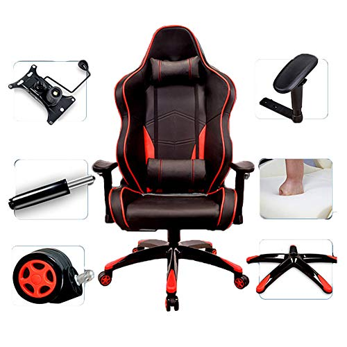 NCBH Gaming Chairs Adult, Ergonomischer Rollstuhl, Computerstuhl Büro-Schreibtischstuhl, mit Stoffbezug und weichem Pu-Leder, Sitzhöhenverstellung Gaming Chair,Red Black
