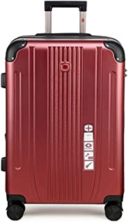 SMLCTY Cabin Case,cabin Luggage,ABS+PC Zipper Waterproof and Scratch-Resistant Lightweight Portable Silent Universal Wheel (Color : Wine red, Size : 22 inch)