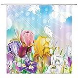 Floral Print Shower Curtain,Beauty Iris Flower Butterflies Silhouette Watercolor Sunshine Dreamy Garden Fabric Bathroom Decor,Hooks Included,71 X 71 Inches,Purple Blue