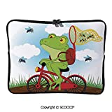 YOLIYANA Laptop Bag Funny Frog on a Bike Catching Hunting Flies in The Nature Laptop Sleeve Bag Water-Resistant Protective Case Bag Compatible with Any Notebook 17 inch/17.3 inch