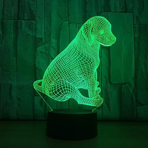 BFMBCHDJ Sitzen Hund 7 Farbe Lampe 3D Visuelle Led Nachtlichter Für Kinder Touch Usb Tisch Lampara Lampe Baby Schlafen Nachtlicht