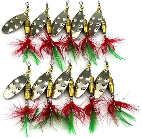 Tuxibiin - Juego de 10 señuelos de pesca de metal, con cucharas de cebo, caja de cebo de pesca, trucha, bajo, salmón, lucio, perca Walleye TXB-03Y