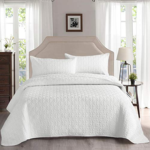 Exclusivo Mezcla 3-Piece King Size Quilt Set with Pillow Shams, as Bedspread/Coverlet/Bed Cover(Grid Weave White) - Soft, Lightweight, Reversible and Hypoallergenic