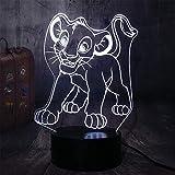 Luces de ilusión3D Lámpara LED luz de la noche 16 colores LED Touch lámpara para el Hogar Decoración para Niños Mejor RegaloEl Rey León Simba