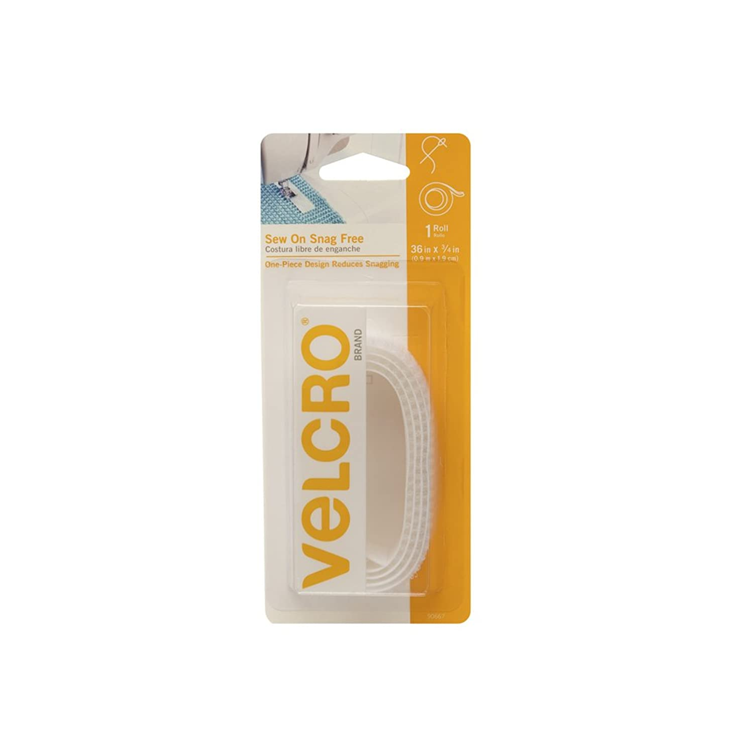 VELCRO Brand Sew On Snag-Free Tape for Alterations and Hemming | No No Ironing or Gluing Light Duty One-Piece Fabric Fastener | Cut-to-Length Roll, 36 x 3/4 inch, White