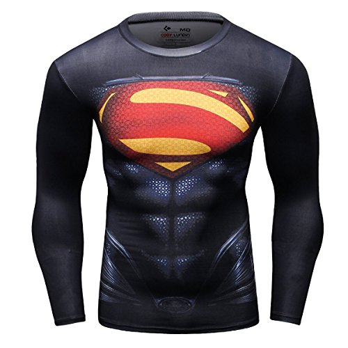 Cody Lundin Homme T-Shirt Collant Manches Longues Super Héros Sport Chemise (L, Super Héros)