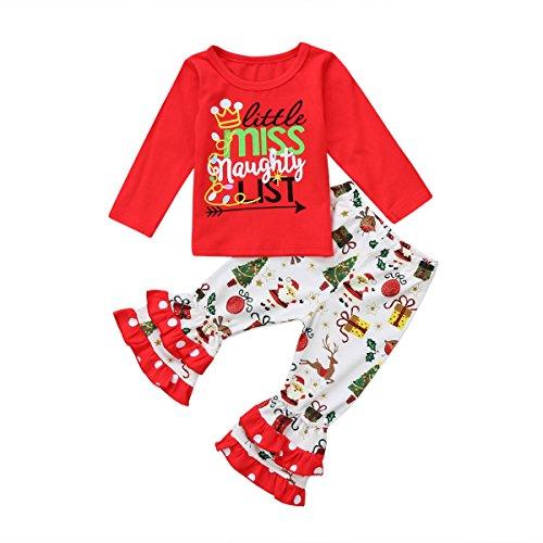 Hailouhai Kerst Peuter Baby Meisjes Leuke Lange Mouw Shirt Tops Outfits Ruche Broek Kerstmis 2 Stks Kleding Set