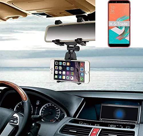 K-S-Trade® Per ASUS ZenFone 5 Selfie Supporto Smartphone Specchietto Retrovisore Titolare Monte Auto Universal Porta Telefono Staffa Culla Cruscotto Montaggio Holder Nero