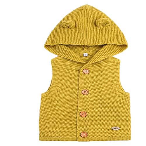 New Baby Sweater Boys Cardigan Autumn Winter Fur Collar Knitted Jacket Coat Toddler Kids Cardigan Yellow 12M