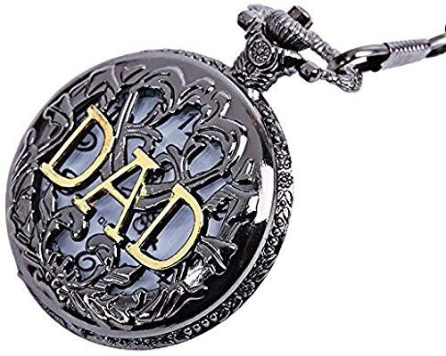 Aluyouqi Co.,ltd Reloj de Bolsillo Reloj de Bolsillo Vintage con Letras de Papa Reloj de Bolsillo de Bronce con Cadena Colgante Regalo para Papa Papa