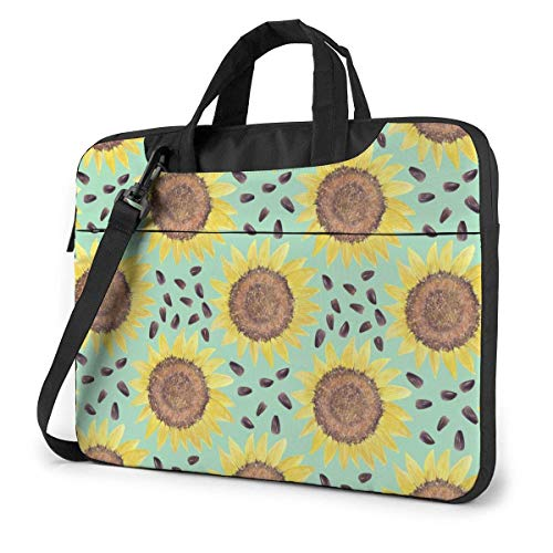 Laptop Bag Protective Notebook Computer Protective Cover Handbag for School College Bright Vintage Sun-flowers Leaves Buds Plant