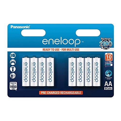 Panasonic eneloop, pile Ni-MH prête à l'emploi, AA Mignon, pack de 8, min. 1900 mAh, 2100 cycles de charge, aux performances élevées et avec une faible autodécharge, pile rechargeable
