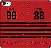 iPhone/Xperia/Galaxy/他機種選択可:手帳ケース(レッド/ファイブスター)(好きな番号と名前を受注生産) 12 iPhone XR