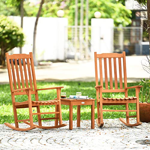 Giantex Rocking Chair 3 Piece Set Wooden W/Two Wood Conversation Chairs and Accent Table for Backyard Porch Poolside Lawn Wooden Rocker Set