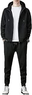 Mens Two Piece Set Sport Zipper Up Hood Long-Sleeves Tracksuit Set