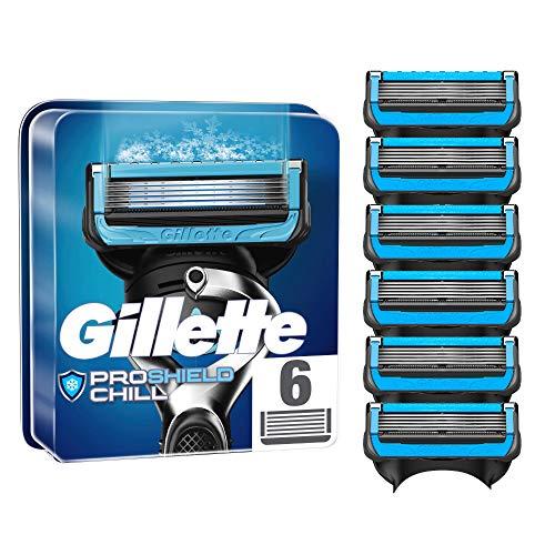 Gillette ProShield Chill Rasierklingen für Männer, 6 Stück, mit 5 Anti-Irritations-Klingen
