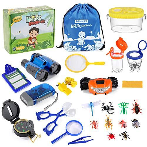 Bammax Set de Aventura Natural para Niños, Set de Exploración al Aire Libre, Binoculares para Niños, Juguetes Educativos para Niños de 3+ Años (26 PCS)