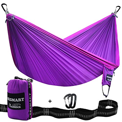 SEGMART Double Hammock with Two Tree Straps & Carabiners, 600lbs (Violet)