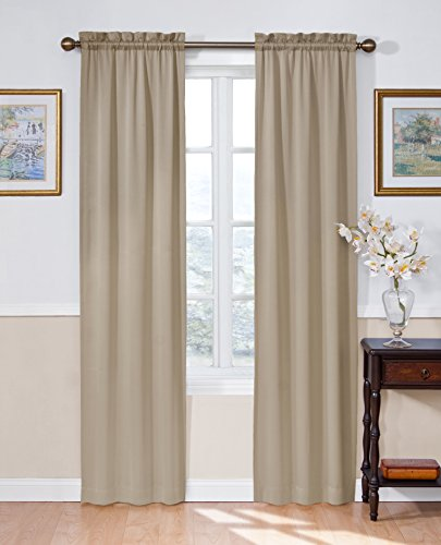 ECLIPSE Room Darkening Curtains for Bedroom - Solid Thermapanel 54' x 84' Thermal Insulated Single Panel Rod Pocket Light Blocking Curtains for Living Room, Taupe
