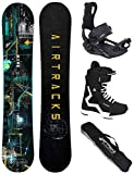 Airtracks Snowboard Set - Wide Board Data 160 - Softbindung Master - Softboots Savage Black 45 - SB Bag