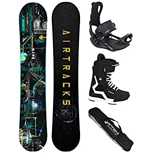 AIRTRACKS Snowboard Set (Paquete Completo) Tabla Data Wide Rocker+Fijaciones Master FASTEC+Botas+SB Bolsa/Nuevo 2