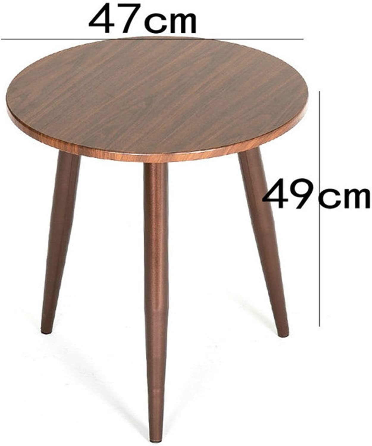 Wooden End Table,Side Table with Metal and MDF Top-D 47x49cm(19x19inch)