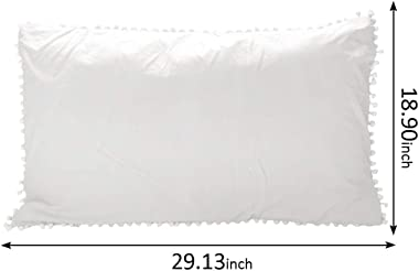 "Sue&Joe Pom Poms Pillow Sham Set Washed Cotton Pillow Covers Pom-Fringed Pillowcases 2 Pack, White (Queen 18.9""x29.1"")"