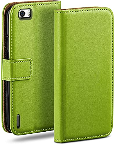 moex Klapphülle kompatibel mit Huawei Honor 6 Hülle klappbar, Handyhülle mit Kartenfach, 360 Grad Flip Hülle, Vegan Leder Handytasche, Grün
