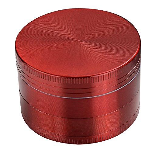 LIHAO Pollen Grinder Crusher für Spice,Kräuter,Gewürze,Herb,Kaffee 4-teiliges Set mit Pollen Scraper (Rot)
