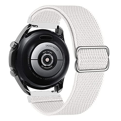 20mm Ajustable Correas Nailon Compatible con Huawei Watch 2/GT 2 42mm, Correa de Repuesto Compatible con Samsung Galaxy Watch 3 41mm/Active 2, Banda para Mujer y Hombre, Pulsera, Blanco