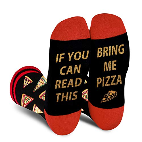 Funny Socks for Men and Women - If You Can Read This Bring Me PIZZA Novelty Crew Socks - Mens Boys Teens Crazy Colorful Funky Cotton Socks Christmas Gift