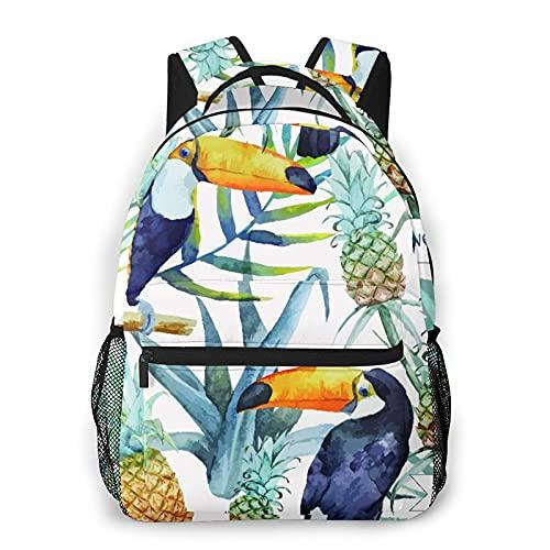 AMIGGOO Zaino casual,Tucano della carta da parati del modello dell, borsa da viaggio con cerniera, per affari, scuola, lavoro, borsa per laptop 16 'X11.5'X8'