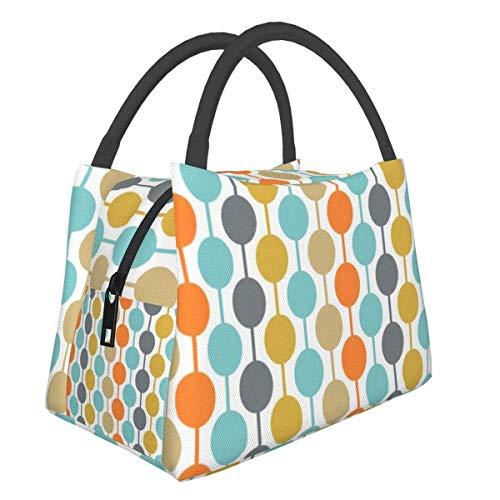 Bolsas de picnic portátiles Bento bolsa de almuerzo moderna retro círculos almohadas mediados de siglo multifuncional con cremallera para el trabajo escolar, oficina, bolso de aislamiento Bento