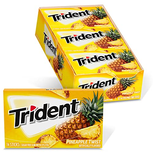 Trident Pineapple Twist Sugar Free Gum, 12 Packs of 14 Pieces (168 Total Pieces)