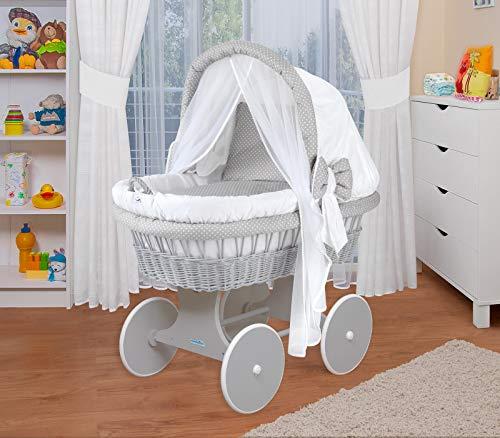 WALDIN Landau/berceau bébé complet,44 modèles disponibles,Cadre/Roues blanc laqué,couleur du tissu blanc/points blanc