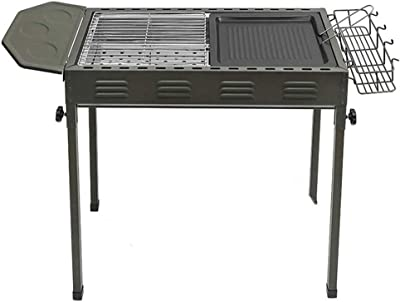 CJVJKN Outdoor Portable Stainless Steel Barbecue Grill, Household Charcoal Barbecue Tool, Suitable for Garden Party, Beach, 66 35 68