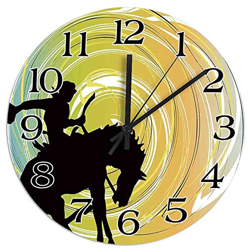 8 NBNWDHI Galloping Horse Cowboy Silhouette Colorful Abstract Circular Backdrop Equestrian Decorative Wall Clock, Silent Non-Ticking Quartz Decorative Battery Operated Clock,Kitchen Clock,30in