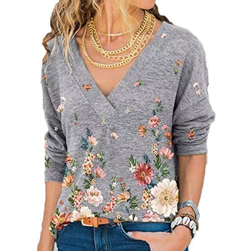 Damskie topy z długim rękawem dekolt w serek sweter koszula cienka bluzka kwiatowy nadruk tunika topy podstawowa bluzka koszule