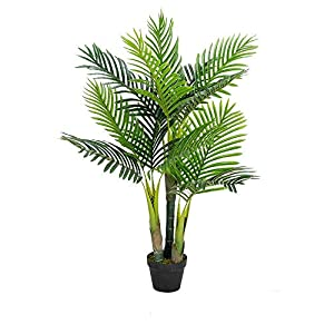 Silk Flower Arrangements VINGLI 3.5Ft Fake Palm Tree, Artificial Greenery Plants, Decorative UV Resistant Trees, for Home & Office Living Room , Indoor & Outdoor