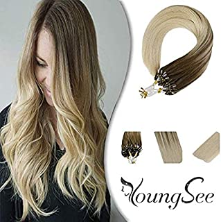 Youngsee 22inch Micro Ring Hair Extensions Human Hair Ombre Balayage Color #8A Brown Mix #60 Platinum Blonde Micro Bead Extensions Real Remy Hair 1G/Strand 50G/Pack