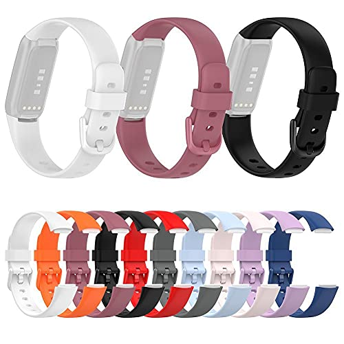 N.P Correas de reloj de silicona para Fitbit Luxe, correa de reloj deportivo de goma suave para mujeres, correas de reloj de repuesto - varios colores (S, L)