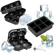 Whaline - Juego de 3 moldes de silicona para hacer bolas cuadradas y bandeja de diamantes con tapas, cubitos de hielo grandes para whisky o comida de bebé
