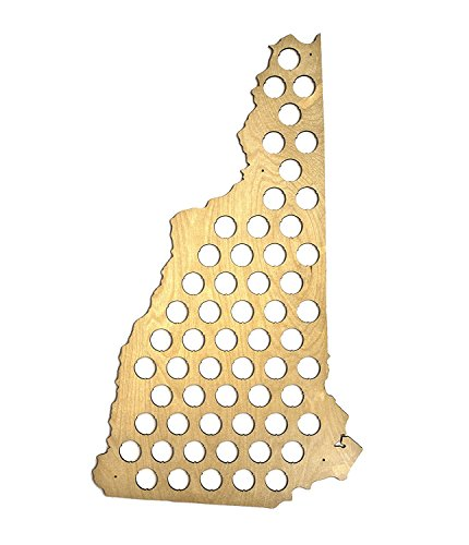 All 50 States Beer Cap Map - New Hampshire Beer Cap Map NH - Glossy Wood - Skyline Workshop - Great Fathers Day gift!