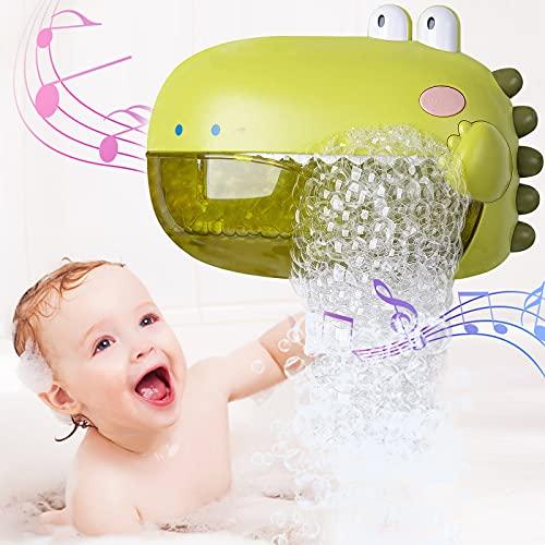Seifenblasenmaschine Badewanne, Baby Badespielzeug Bubble mit Musik, Dinosaurier Badewannenspielzeug Badespielzeug Automatischer Seifenblasen Badewanne Spielzeug Junge Mädchen ab 1 2 3 Jahre Grün
