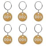 Asipire Etiquetas Numeradas con Llavero, Llavero Numerado con Etiqueta de Identificación, Llavero con Anilla de Metal, Etiquetas Redondas de los Bordes del Metal,Color Amarillo, 1-50