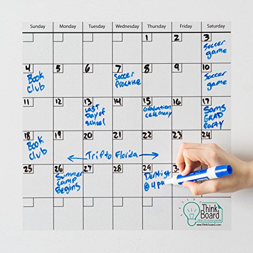 Think Board Self-Adhesive Whiteboard Wall and Refrigerator Calendar 350x350mm Clear