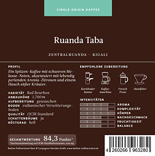 BKR | Kaffee | Ruanda Taba | Arabica | Single Origin 500g Bohne