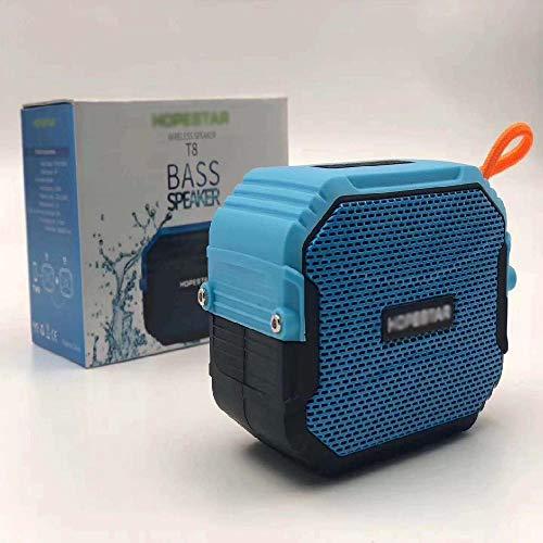 Impermeable portátil inalámbrico portátil de tiempo de reproducción de viaje Bluetooth altavoz largo amplia gama de Bluetooth realzó con cancelación de ruido del micrófono,Blue
